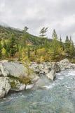 Rivier Shumi Multinskiyemeren De herfstlandschap van Altaibergen Royalty-vrije Stock Afbeeldingen