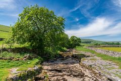 Rivier Skirfare, dichtbij Litton, North Yorkshire, Engeland, het UK stock foto's