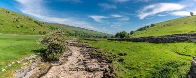 Rivier Skirfare, dichtbij Litton, North Yorkshire, Engeland, het UK royalty-vrije stock foto's