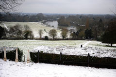 Rivier Theems in de sneeuw Stock Foto's