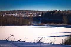Rivier tijdens de winterdag Royalty-vrije Stock Fotografie