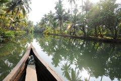 Rivier van de binnenwateren in Kollam Stock Afbeelding