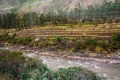 Rivier Vilcanota - de Treinrit aan Machu Picchu Stock Afbeeldingen