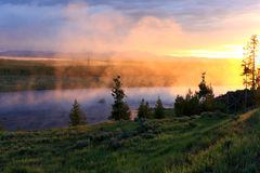 rivier zonsopgang Stock Foto