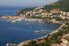 Riviera of Budva, Montenegro. Top view of the seacoast of Budva, Montenegro Stock Images