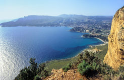 Riviera coast. Preserved part of french riviera  with mediterranean vegetation Royalty Free Stock Photos