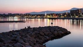 Riviera francese alla notte fotografia stock