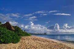 Riviera Maya beach. And palapa stock photography