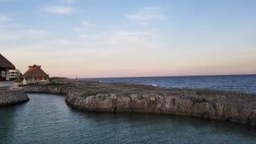 Riviera Maya. A beautiful sunset over the Caribbean Sea royalty free stock photography