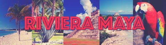 Riviera Maya insta photo lettering Stock Image