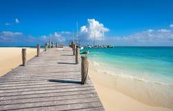 Riviera Maya Maroma Caribbean beach Mexico. Riviera Maya Maroma Caribbean beach marina pier in Mayan Mexico royalty free stock images