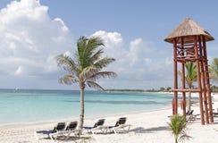 Riviera Maya Mexico Beach. Empty white sand beach, ocean and palm trees in Mexico, Riviera Maya stock image