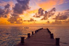 Riviera Maya pier sunrise in Caribbean Mayan Royalty Free Stock Image