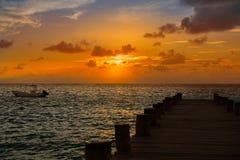 Riviera Maya pier sunrise in Caribbean Mayan Stock Photos