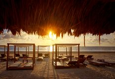 Riviera Maya sunrise beach in Mexico Stock Images