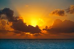 Riviera Maya sunrise beach in Mexico. Riviera Maya sunrise beach at Mayan Mexico royalty free stock images