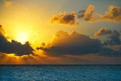Riviera Maya sunrise beach in Mexico Stock Photo