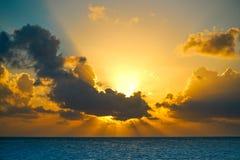 Riviera Maya sunrise beach in Mexico Royalty Free Stock Photos