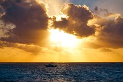 Riviera Maya sunrise beach in Mexico Royalty Free Stock Images