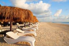 Riviera Maya sunrise beach in Mexico. Riviera Maya sunrise beach sunroof hammocks at Mayan Mexico royalty free stock photography