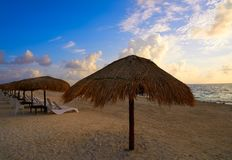 Riviera Maya sunrise in Caribbean Mexico. Riviera Maya sunrise in Caribbean Mayan Mexico stock images