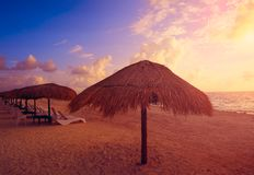 Riviera Maya sunrise in Caribbean Mexico Stock Photos