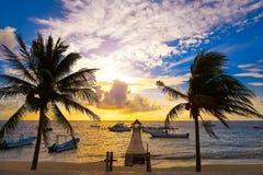 Riviera Maya sunrise pier Caribbean Mexico Royalty Free Stock Photo