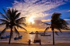 Riviera Maya sunrise pier Caribbean Mexico Stock Photo