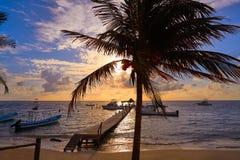 Riviera Maya sunrise pier Caribbean Mexico Stock Photos
