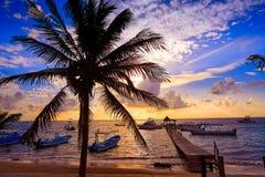 Riviera Maya sunrise pier Caribbean Mexico Stock Image