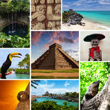 Riviera Maya Views Collage. With Typical Photos Stock Photos