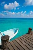 Riviera Maya wood pier and boats. In Mayan Mexico Royalty Free Stock Image