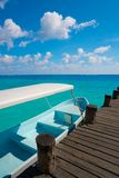 Riviera Maya wood pier and boats. In Mayan Mexico Royalty Free Stock Images