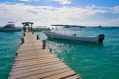 Riviera Maya wood pier Caribbean Mexico royalty free stock photo
