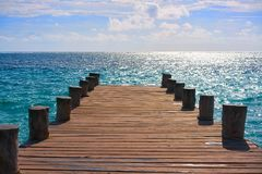 Riviera Maya wood pier Caribbean Mexico stock photo