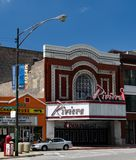 The Riviera Theater. This is a Summer picture of the iconic Riviera Theater located in the Uptown neighborhood of Chicago, Illinois.  The original movie theater Royalty Free Stock Image