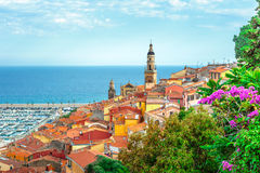 Riviera town Menton view with sea Royalty Free Stock Image