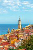 Riviera town Menton view with sea Royalty Free Stock Photo