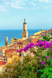 Riviera town Menton view with sea Royalty Free Stock Photography