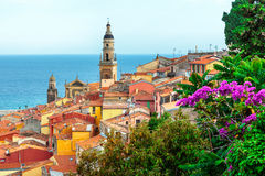 Riviera town Menton view. With sea and church Royalty Free Stock Image