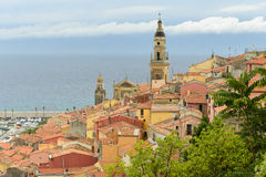 Riviera town Menton view with sea and church Stock Photo