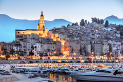 Riviera town Menton view in sunset Royalty Free Stock Images