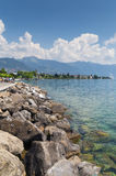 Riviera in Vevey. Promenade with Alps mountains and Leman lake. Riviera in Vevey, canton Vaud Switzerland Stock Image