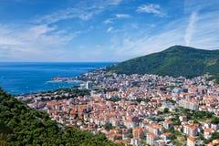 Riviera von Budva auf adriatischer Seeküste, Montenegro Stockbild