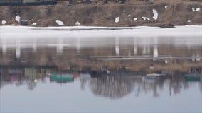 Rivierdraaikolken in een snelle stroom Lengte van snel stromend modderig water De vroege lente, ijskegels hangt op kleine takken  stock video