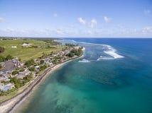 RIVIERE DES GALETS,毛里求斯- 2015年11月29日:Riviere与海滩的des Galets地区和印度洋在毛里求斯 库存照片