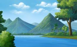 Rivieren, bergen, bossen Stock Illustratie