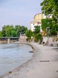 Rivierherberg in volledige vloed, Passau, Duitsland stock fotografie