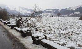 Rivierhoogtepunt van ijs, Bistrita Roemenië stock afbeeldingen