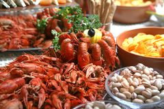 Rivierkreeften kanker Gekookte krabben voor voedsel Stock Foto
